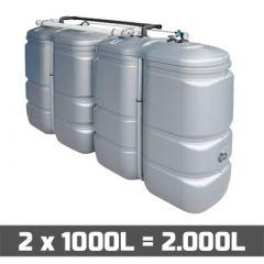 Citerne à mazout PE: 2 x 1000L (=2000L) UV résist - jumelage longueur