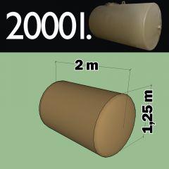 Citerne à mazout à enterrer en acier de 2000 litres